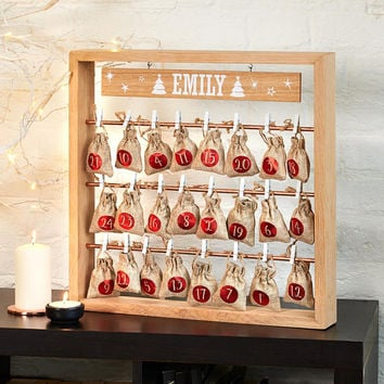 Personalised Wooden Square Rack & Christmas Advent Calendar Hanging Sacks