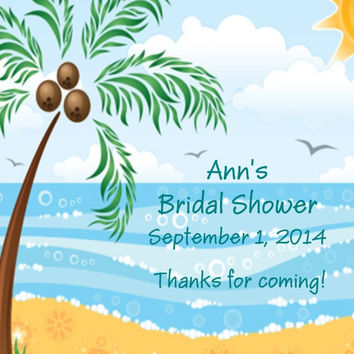 Palm Tree Beach Bridal Shower Favor Tags