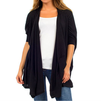Short Sleeve Extra Loose Fit Cardigan in Black