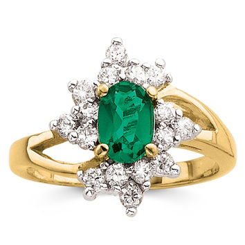 Simulated Emerald and CZ Ring