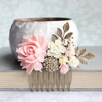 Pink Bridal Hair Piece Blush Pink Floral Hair Comb Rose Quartz Bridesmaids gift Vintage Style Romantic Wedding Summer Nude Neutral Colors