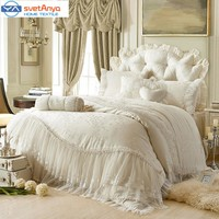 princess Lace+cotton luxury bedding sets queen king size beige/pink/red/purple color ,cotton bedskirt+pillowcase+duvet cover set