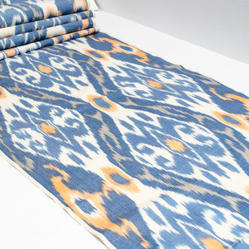 blue orange and white colored ikat fabric by the yards, handwoven, uzbek, ikat, textile, design fabric, design textile, home decor, Silkway