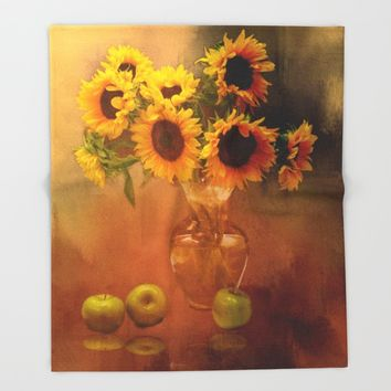Sunflower Reflections Throw Blanket by Theresa Campbell D'August Art