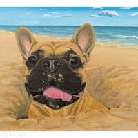 Fine Art: Giclee print of Cheeky Chappy! french bulldog print, french bulldog painting, animal art, art prints, pet portrait, pet painting