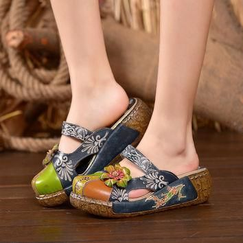 2016 Summer Women Shoes Flat Slides Platform Sandals Genuine Leather Handmade Flower C