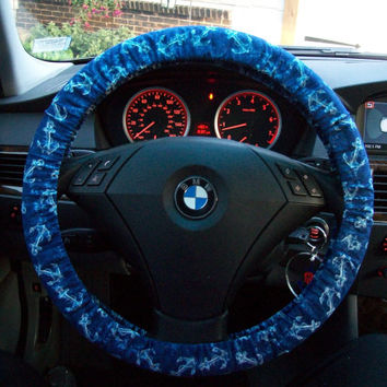 White Anchors on Navy Steering Wheel Cover
