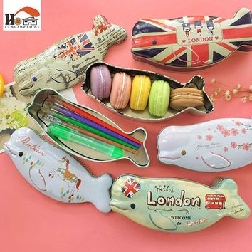 *Novelty fish shape iron box Tea candy storage seal box wedding favor tin box Jewelry Pill Cases portable container