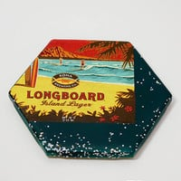Ceramic Hexagon Beer Label Coaster | Kona Longboard Island Lager | Upcycle Ceramic Tile Coaster | Craft Beer Geek Gift | Single Coaster