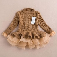Girl Dress Knitted Chiffon Winter Kids Girls Clothes Children Clothing Girl Dress Thick Warm spring dress