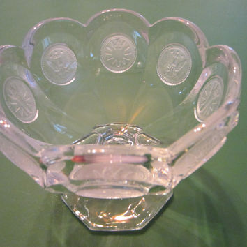 Fostoria Jelly Stem Glass Compote Frost Cased Torch Eagle Coins