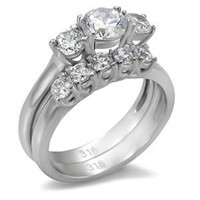 Love Honor Cherish - A Perfect Engagement Ring Of Stainless Steel with Three Cubic Zirconias and Wedding Ring with A Row Of Sparkling Cubic Zirconias