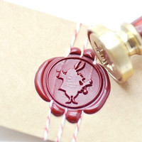 White Rabbit Alice in the Wonderland B20 Gold Plated Wax Seal Stamp x 1
