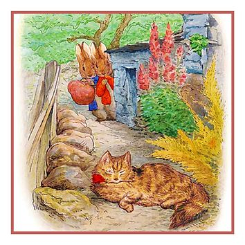 Peter and Ben Rabbit See a Cat inspired by Beatrix Potter Counted Cross Stitch Pattern