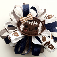 Football Hair Bow - Navy and Gray Hair Bow Barrette for Girls - Sports Hair Clip Barrette - Loopy Hair Bow - Large Hair Bow for Girls