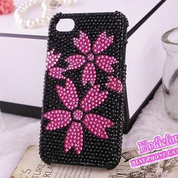 Bling Bling Sakura iPhone 5 case, Rhinestone Flower iPhone 4S case,Cherry Blossom iPhone 4 Case,oriental cherry iPhone cover,Cute case,C005