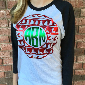 Red & Green Foil Christmas Emblem Monogram 3/4 Sleeve Raglan Top