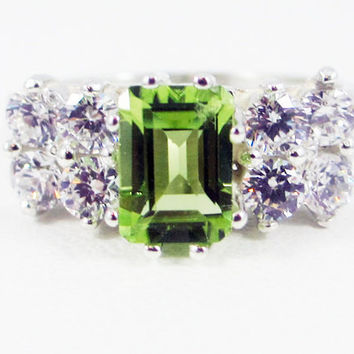 Peridot and CZ Accented Sterling Silver Ring Emerald Cut, August Birthstone Ring, Engagement Ring, Multi Stone Ring, White CZ Accent Ring