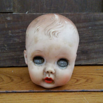 Vintage Little Rubber Doll Head Great Creepy Decor