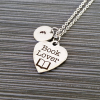 Stainless Steel Book Lover Necklace - Book Necklace - Personalized Necklace - Custom  Initial Necklace - Author Gift - Writer Necklace