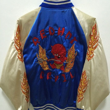 MEGA SALE Vintage Sukajan Japan Yokosuka Red Devils Tedman's Dragon Eagle Tiger Yakuza Embroidery Souvenirs Satin Jacket Rare
