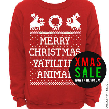 Merry Christmas Ya Filthy Animal - Naughty Reindeer - Ugly Christmas Sweater - Red Unisex Crew Neck