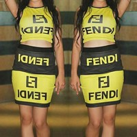 FENDI Newest Hot Sale Women Fashion Sexy Print Sleeveless Top Skirt Set Two-Piece