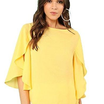 Floerns Womens Casual Bell Sleeve Chiffon Blouse Tie Knot Front Top