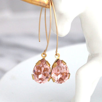 Blush Earrings, Morganite Drop Earrings, Bridal Morganite Earrings, Long Blush Gold Earrings, Sensitive Earrings, Bridesmaids Earrings