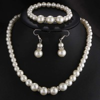 Freshwater Simulated Pearl Jewelry Set Necklace / Earrings / Bracelet
