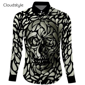 3d skull printing shirt casual shirt Single Breasted mens long sleeve shirtsM-2XL