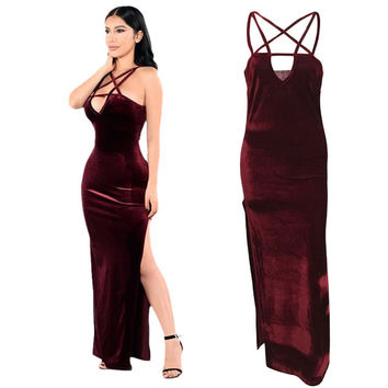 2016 New Sexy Fashion Autumn Velvet Dress Women Sleeveless Spaghetti Strap maxi dress Evening Party dress Robe Velours Strap