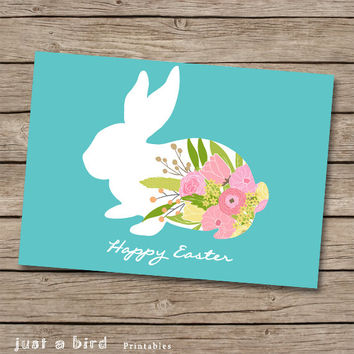 Easter 5x7 card printable, DIY Easter card, Easter bunny print, Easter decor, teal nursery decor, floral bunny print - INSTANT DOWNLOAD