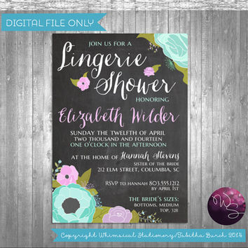 "Lingerie Shower Invitations ""Spring Lingerie"" Collection (Printable File Only) Purple Blue Floral Chalkboard Style"