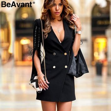 BeAvant Split flare sleeve lace up blazer dress Women OL short black dress party 2018 Sexy autumn winter dress elegant vestidos