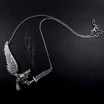 Supernatural Team Free Will Wing, Gun, and Demon Blade Necklace