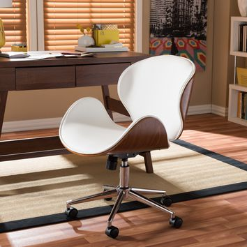Baxton Studio Bruce Modern and Contemporary White and Walnut Office Chair Set of 1