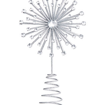Holiday Lane Silver Star Burst Tree Topper, Created for Macy's | macys.com