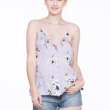 Lilac Floral Button Sleeveless Top