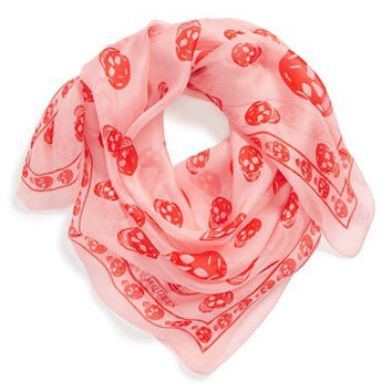 Alexander Mc Queen Pink And Red Skull Silk Scarf New  (Alexander McQueen)