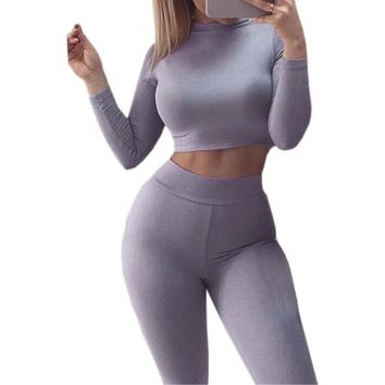 Autumn Two Piece Set  Sexy Skinny Pants Crop Top Women Sets Summer Sportsuits Bodycon Outfits Set Tracksuits Clubwear GV454