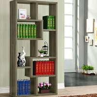 Grey Weathered Office  Bookcase With Shelving