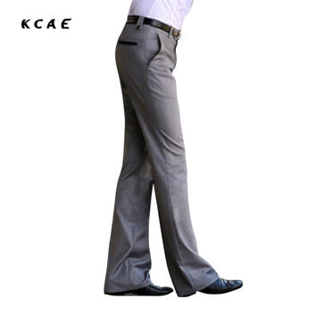 2017 New Men's Flared trousers Formal pants Bell Bottom Pant Dance suit pants Size 28-36 Gray Free shipping
