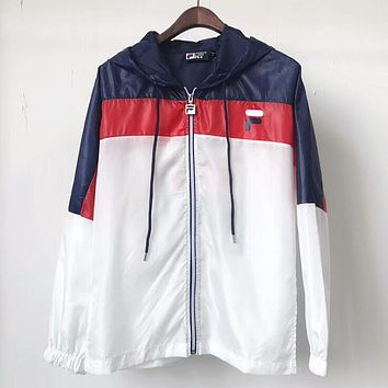 """FILA"" Popular Unisex Loose Color Matching Hooded Zipper Jacket Coat I-AA-XDD"