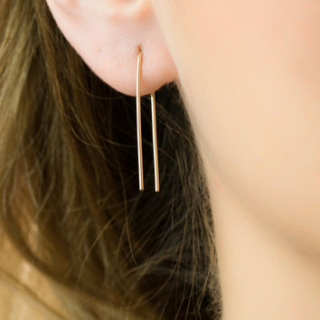 Gold Line Earrings, minimal gold filled earrings thin gold earrings arc earrings wishbone earrings gold bar stud earrings long line earrings