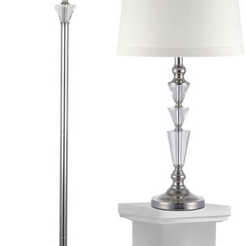 "0-014522>Crystal Table/Floor Lamp Combo Optic 27.5"" 1-Light Table Lamp And 61.5"" Floor Lamp Set Polished Nickel"