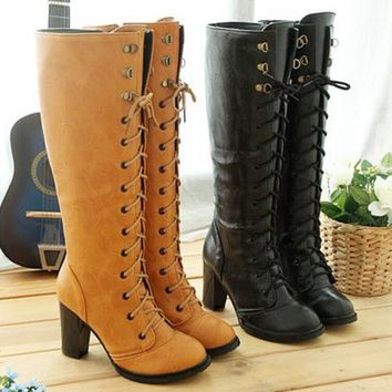Women Stretch Slim Thigh Coarse High Boots Sexy Fashion Boots Lace Up High Heels Woman Shoes Coarse Heels-1