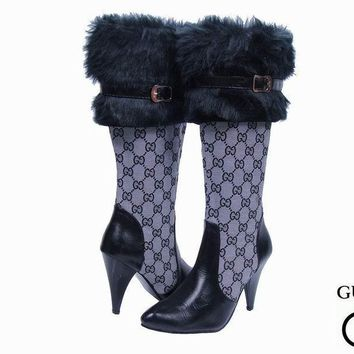 One-nice™ GUCCI Fashion Leather Stiletto High Boot Heels Shoes