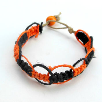 Halloween Hemp Bracelet Black Orange