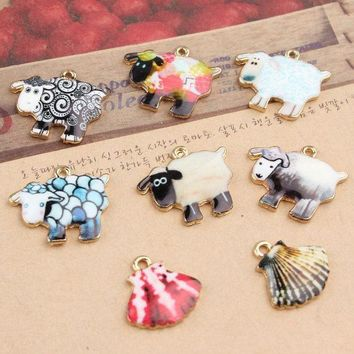 LMFIJ6 12pcs/Lot Cute Cartoon Sheep Metal Charms, Lamb & Sea shell Oil Drop Charms, Animal Jewelry Charms for Keychain Pendant, DIY